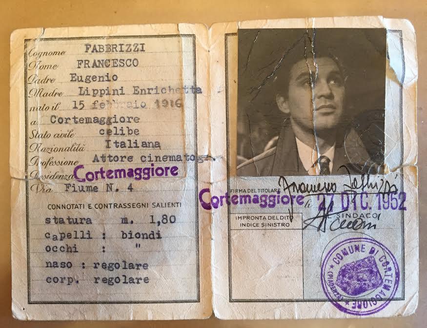 La carta d'identità di Franco Fabrizi